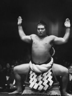 Grand Champion Sumo Wrestler, Taiho Performing Ring Ceremony Before Match Premium Photographic Print by Bill Ray