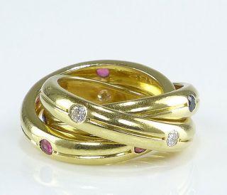 CARTIER TRINITY RING 750er Gold Brillanten Rubin Saphir GG 750