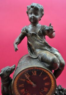 figural mantel clock   marble and cast iron   motif Dog   arround 1890