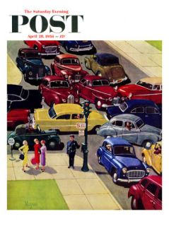 Traffic Jam Saturday Evening Post Cover, April 28, 1956 Giclee Print by Earl Mayan