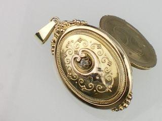 Biedermeier um 1840,585 Gelb Gold Diamant Rose Medaillon,Trachten