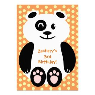 Orange Polka Dot Panda Birthday Invitations