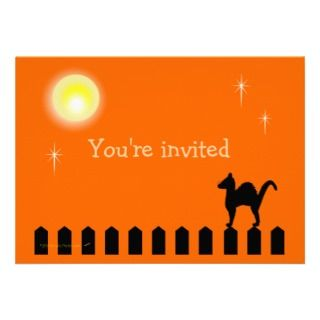these customizable halloween party invitations have a black cat on a