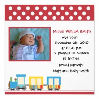 Toy Train Red Square Birth Announcement