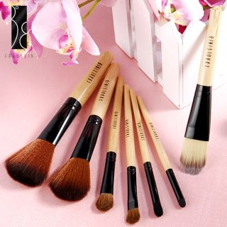 Fräulein3°8 7 Pcs Wooden Handle Makeup Brushes Set w/Leopard Case