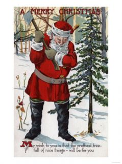 Christmas Greeting   Santa Cutting Down Christmas Tree Print