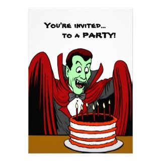 Dracula Vampire Halloween Birthday Custom Invitations
