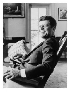 President John F. Kennedy in Rocking Chair on His 43rd Birthday. May 29, 1963 Photo