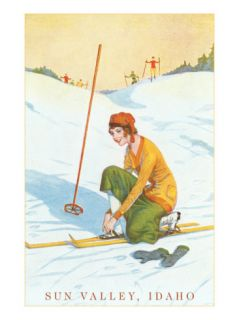 Sun Valley, Idaho, Lady Skier Fixing Bindings Photo