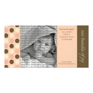 8x4 Birth Announcement Coral and Brown Polka Dots Photo Greeting Card