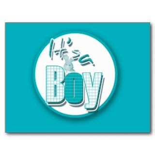Its a boy cute bunny new birth announcement postcard