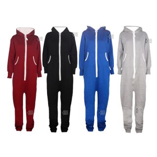 UNISEX MENS WOMENS HOODED ZIP ONESIE PLAYSUIT ADULTS ALL IN ONE PIECE