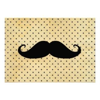 Funny Black Mustache On Vintage Yellow Polka Dots Custom Invitation