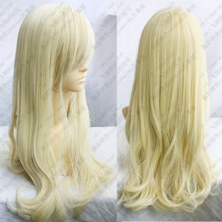 153 Light Blonde Long wavy curly cosplay wig 80cm