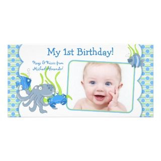 Under the Sea Critters Boy 1st Birthday Photocard Personalized Photo