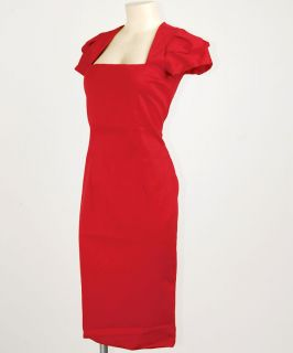 Red Vtg 50s Dita Retro Mad Men Rockabilly Pin Up Pencil Kleid M