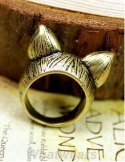 New Hot Korean Style Retro Cute Cat Ears Ring Size 7 S04
