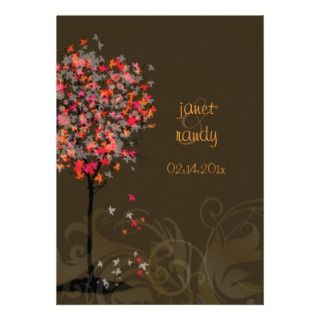 Fall wedding invitations/red maple leaves
