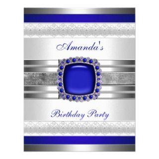 Birthday Party White Blue Jewel Silver Metal Trims Custom Announcement