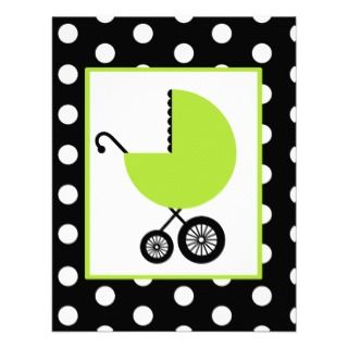 Green Carriage & Polka Dots Personalized Announcements