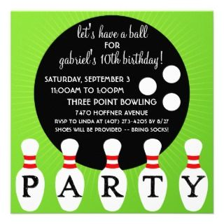 lectric lime pin party bowling birthday party invitations click here