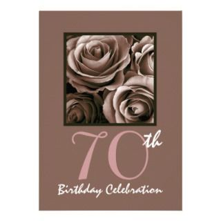 70th Birthday Party Invitation CHOCOLATE Roses