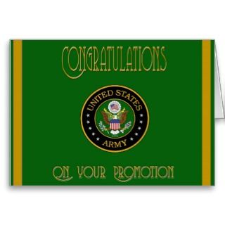 US Army Promotion Congratulations Card