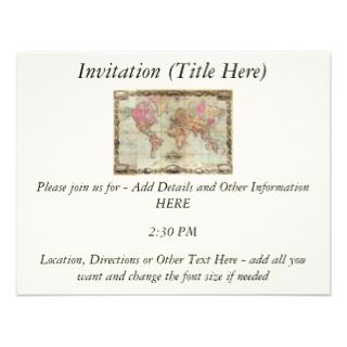 Antique World Map by John Colton, circa 1854 Personalized Invites