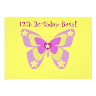 14th Birthday Party Invitation, Butterflies