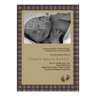Baby Steps Birth Announcement   Purple Plaid