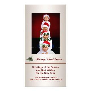 Tarjetas de la foto del navidad del acebo del navi tarjeta fotografica