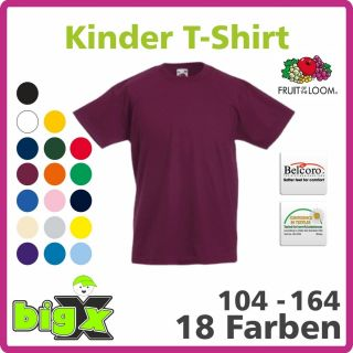 Kinder T Shirt, Gr. 104   164, 18 Farben, Fruit of the Loom Basic, 033