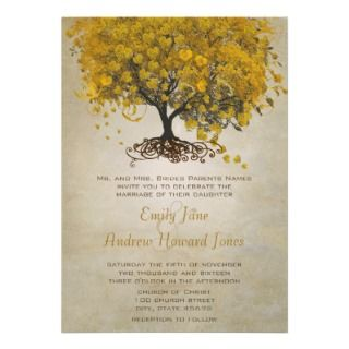 Yellow Heart Leaf Tree Wedding Invites invitation