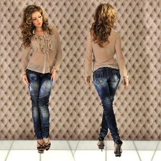 New Sexy Damen Chiffon Bluse Beige Größe S/M/L NEU 2012