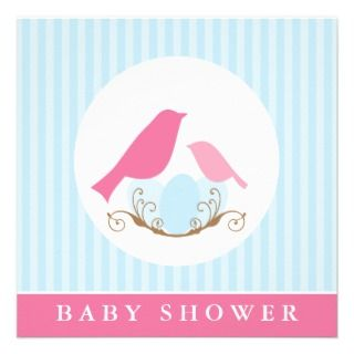 Birds Nest Baby Shower Invitiations Personalized Invitation
