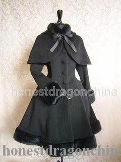 Gothic Lolita Wolle Mantel Schwarz Maßanfertigung C2