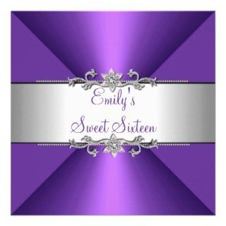 Sixteen Purple Silver Birthday Party Announcement