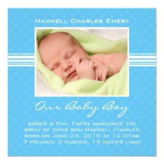 Baby Boy Birth Announcement Card