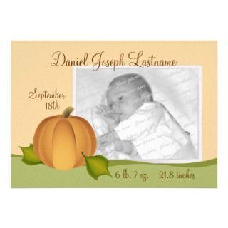 Pumpkin Baby Birth Announcement