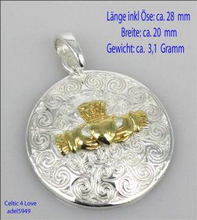 Anhänger Rund Silber 14k Gold Keltisch Celtic spirale Claddagh Symbol