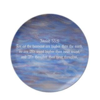Blue Violet clouds Sky art bible verse Christian Dinner Plates