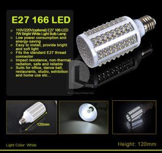 Super Bright White 110V 220V E27 166 LED 7W Light Corn Bulb Lamp f