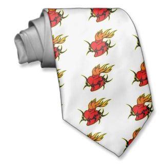 Tribal Sacred Heart Tattoo Custom Tie