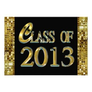 Black, Gold Sequins Class Of 2013 Grad Invitations
