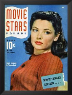Gene Tierney   Movie Stars Parade Magazine Cover 1940s Posters