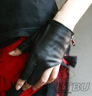 Genuine Leather Lambskin Sheepskin Punk Rocker Biker Dancer Fingerless
