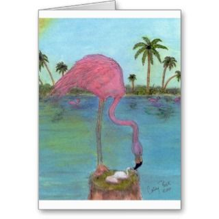 Pink Flamingo Mama Baby Egg Palm Trees Art Greeting Cards