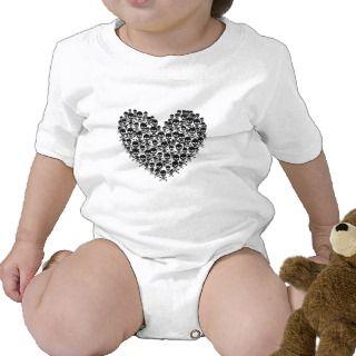 Black Skull Heart T shirts