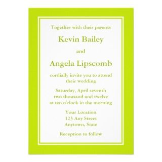 Lime Green Wedding Invitations or Announcements