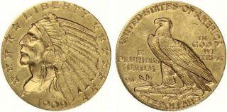 B86 USA 5 Dollar 1909 D GOLD